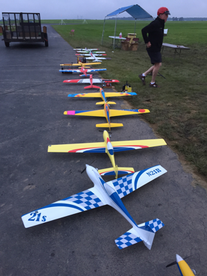 Robert Vess' AR-6 (2nd plane from bottom) waits its turn in the 2015 NATS Q40 practice line.